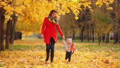 Mother and baby playing in a beautiful autumn park Stock Footage