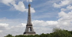 Ultra HD 4K Eiffel Tower French World Famous Iconic Symbol Structure Blue Sky Stock Footage