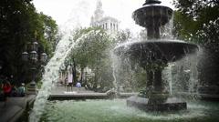 City Hall Park Fountain 3 Views New York Stock Footage