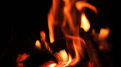Fire, wood-burning stove, fireplace Stock Footage