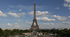 Stock Video Footage of Ultra HD 4K Aerial View Eiffel Tower Landmark Paris Champ Mars Romantic Capital