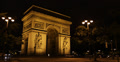 Ultra HD 4K Illuminated Night Paris Arc de Triomphe Champs-Elysees Place Footage