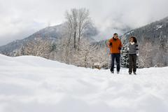 A mature couple skiing - stock photo