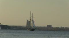 OLD SAILING SHIP in New York harbor. Stock Footage