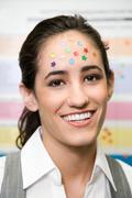 Woman with stars on her head - stock photo