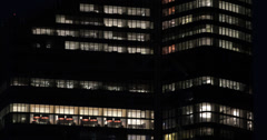 Ultra HD 4K Night Lights Business District Paris Corporate Building Office Tower Stock Footage