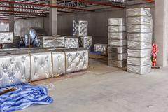 Fiberglass for new factory construction Stock Photos
