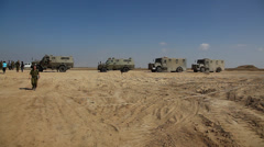 Armored vehicles near Gaza Terror Tunnel Uncovered on Israeli Side of the Fence - stock footage