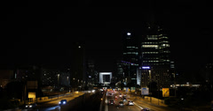Ultra HD 4K Illuminated Night Light La Defense Highway Freeway Car Traffic Urban - stock footage