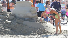 Celebrity Sand Sculpture at Sea Festival Stock Footage