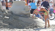 Stock Video Footage of Celebrity Sand Sculpture at Sea Festival