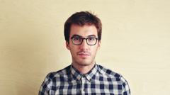 Hipster man portrait looking stylish Stock Footage
