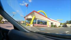 McDonalds drive thru fisheye lens Stock Footage