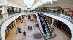 Fisheye lens view indoor Shopping Center - stock footage