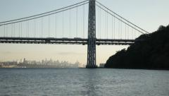 Slow Pan Up of West Tower of George Washington Bridge Stock Video Stock Footage
