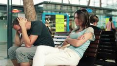 Young couple arguing in shopping mall HD - stock footage