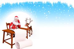 Santa claus and rudolph with list - stock illustration