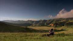 A couple overlooking Golden Gate National Park Stock Footage