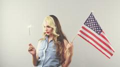 Patriotic woman cinemagraph loop Stock Footage