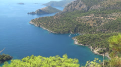 Mediterranean sea landscape view of coast and island Stock Footage