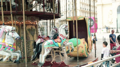 Retro carousel in the city HD Stock Footage