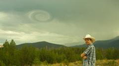 Tornado forming formation vortex funnel cloud Stock Footage