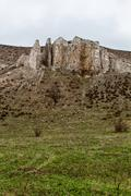rocky outcrop is located  donetsk region - stock photo