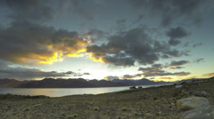 Pangong lake sunrise India Stock Footage