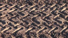 Agriculture tractor protector traces on field soil Stock Footage