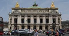 Ultra HD 4K Tourist Attraction Opera Garnier Paris Crossing Passing Car Traffic Stock Footage