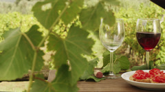 Filling Glasses with Wine in Vineyard. v5. Stock Footage