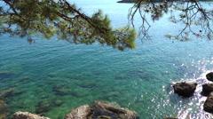 Water texture in the mediterranean sea coast shore Stock Footage
