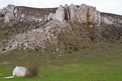 rocky outcrop is located in the upper cretaceous  donetsk region - stock photo