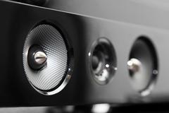 Closeup of soundbar speaker Stock Photos