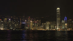 Hong Kong skyline light show Stock Footage
