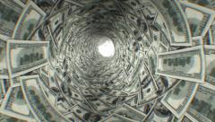 Dollars tunnel. First 250 frames are loop-able. HD 1080. Stock Footage