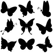 Butterflies, black silhouettes Stock Illustration