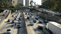 Time Lapse of Traffic on Busy Freeway in Los Angeles Stock Footage