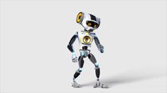 Robot plays air guitar Stock Footage