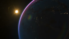 72 Planet Earth rotation, sunrise over the planet, city lights at night. Stock Footage