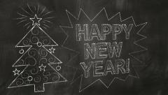 Drawing new year greetings on blackboard Stock Footage