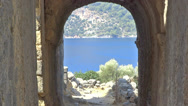 Stock Video Footage of mediterranean sea landscape and ancient ruins
