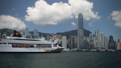 206 floating cruise luxury liner, Hong Kong - stock footage