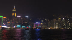 Hong Kong Pan of skyline during lightshow with laser lights Stock Footage