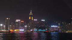 Hong Kong Pan of skyline during lightshow Stock Footage