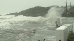 Hurricane Storm Surge High Tide Floods Coast - stock footage
