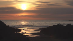 Coastal Scenic view at Sunset in Cornwall, UK Stock Footage