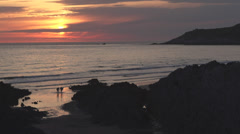 Sunset view from Cornish Headland Stock Footage