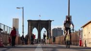 Stock Video Footage of 070 Brooklyn Bridge Pedestrians B2 59s, New York