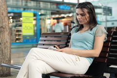Woman waiting for someone in shopping mall NTSC Stock Footage